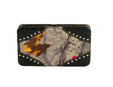 Hot Leaf Camo Flat Wallet Western Ladies Womens Clutch Pocketbook Brown Khaki