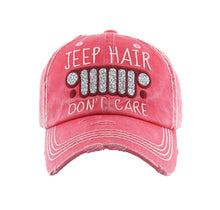 Jeep Hair Dont Care Hat Vintage Distressed Adjustable Baseball Cap
