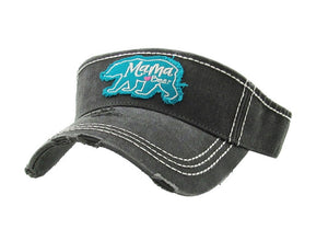 Mama Bear Visor Adjustable Vintage Distressed Womens Ladies Hat Cap Black Blue
