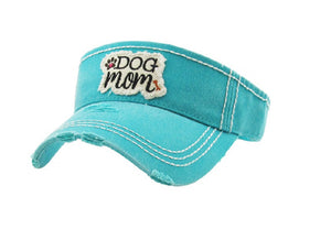 Dog Mom Sun Visor Bone Puppy Paw Print Adjustable Vintage Distressed Hat