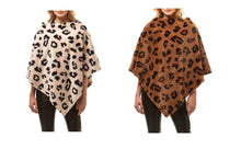 Leopard Faux Fur Poncho Cheetah Wrap Winter Fall Womens Ladies Pull Over Top