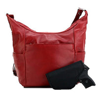 Left or Right Concealed Carry Gun Leather Messenger Bag Crossbody Purse Red