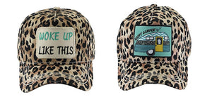 Adjustable Leopard Hat Distressed Cheetah Cap Woke Up Like This or Happy Camper
