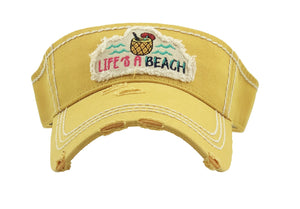 Adjustable Lifes A Beach Sun Visor Vintage Distressed Hat Cap Blue Black Pink Yellow