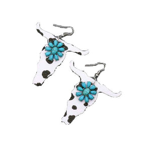 Lightweight Leatherette Cow Longhorn Steer Earrings Turquoise Squash Blossom Bull Jewelry 2.5""