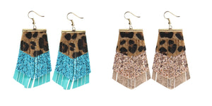 "Lightweight Leopard Fringe Earrings Cheetah Tassel Layered Jewelry Brown 3.5"" Rose Gold or Turquoise Blue"