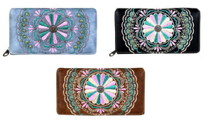 Montana West Pink Turquoise Flower Floral Trifold Zipper Secretary Wallet Brown Black Blue