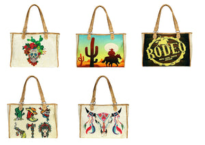 Montana West Cactus Sugar Skull Rodeo Cowboy Boot Shopping Diaper Bag Tote Purse Brown Tan