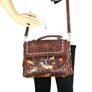 Montana West Horse Horseshoe Turquoise Ring Messenger Bag Handbag Shoulder Purse Black Blue Brown