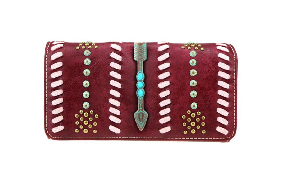 Montana West Aztec Arrow Braided Turquoise Patina Trifold Wristlet Wallet Black Brown Burgundy Red