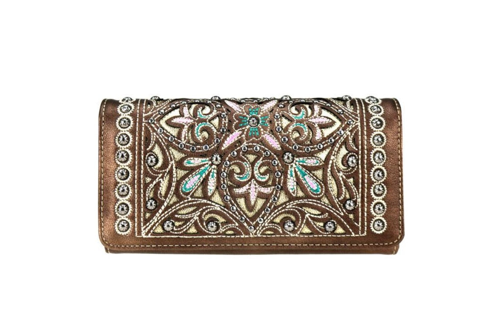 Montana West Embroidery Flower Floral Trifold Wrist Secretary Wallet Blue Brown