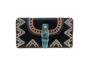 Montana West Croc Buckle Turquoise Concho Secretary Style Trifold Zipper Wallet Purple Black