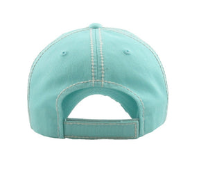 Mama Bear Flower Floral Lace Embroidery Vintage Distressed Baseball Cap Hat Turquoise Blue Black