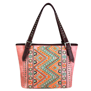 Montana West Aztec Flower Concealed Carry Handbag Purse Shoulder Tote Pink Coral