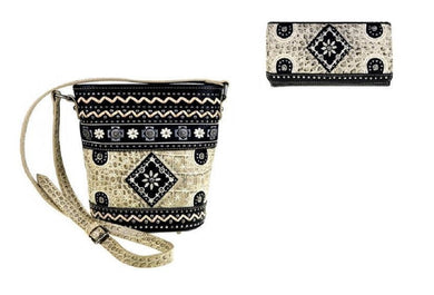Montana West Aztec Flower Messenger Bag Purse Wallet Set Bone Beige Black
