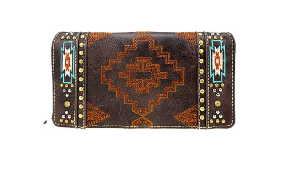 Montana West Aztec Trifold Zipper Womens Wallet Turquoise Blue Embroidery