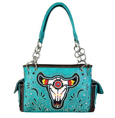 Montana West Beaded Aztec Longhorn Bull Steer Concealed Carry Gun Purse Turquoise Blue