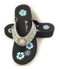 Montana West Bling Rhinestone Concho Flip Flops Sandals Slip On Shoes Light Blue Black