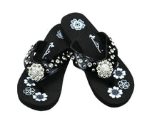 Montana West Bling Rhinestone Concho Western Thin Sole Flip Flops Sandals Shoes Black Purple Pink
