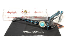 Montana West Rhinestone Turquoise Blue Concho Reading Glasses Cheaters Case Cloth Black Brown