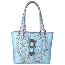 Montana West Braided Studded Buckle Concealed Carry Purse Shoulder Bag Blue