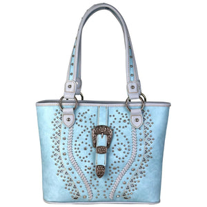 b35bba51410 Montana West Braided Studded Buckle Concealed Carry Purse Shoulder Bag Blue