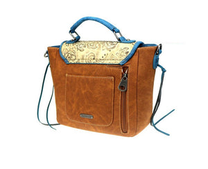 Montana West Concealed Carry Purse Fringe Tassel Messenger Bag Handbag Brown Blue