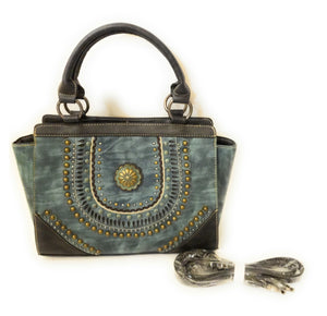 Montana West Concho Purse Messenger Bag Crossbody Pocketbook Turquoise Blue Patina