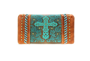 Montana West Embroidery Scroll Cross Braided Trifold Zipper Wallet Black White Turquiose Blue Brown