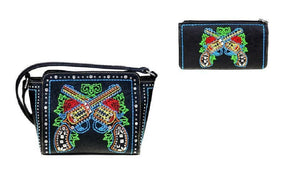 Montana West Crossed Gun Pistols Flower Messenger Bag Crossbody Purse Wallet Set Black Red