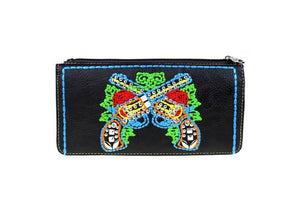 Montana West Crossed Gun Pistol Embroidery Flower Bling Studded Wallet Black