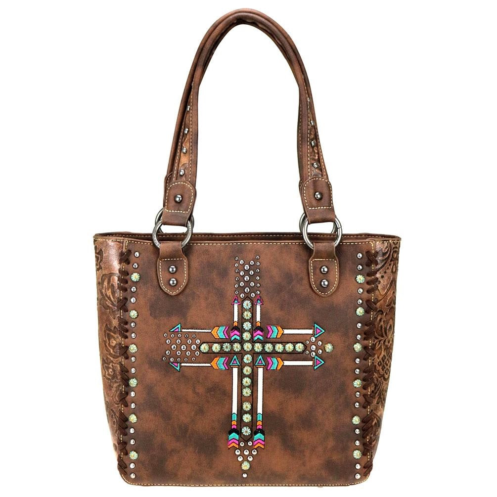 Montana West Patina Aztec Serape Arrow Cross Concealed Carry Purse Handbag Brown