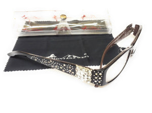 Montana West Rhinestone Square Concho Reading Glasses Case Cloth Silver Black