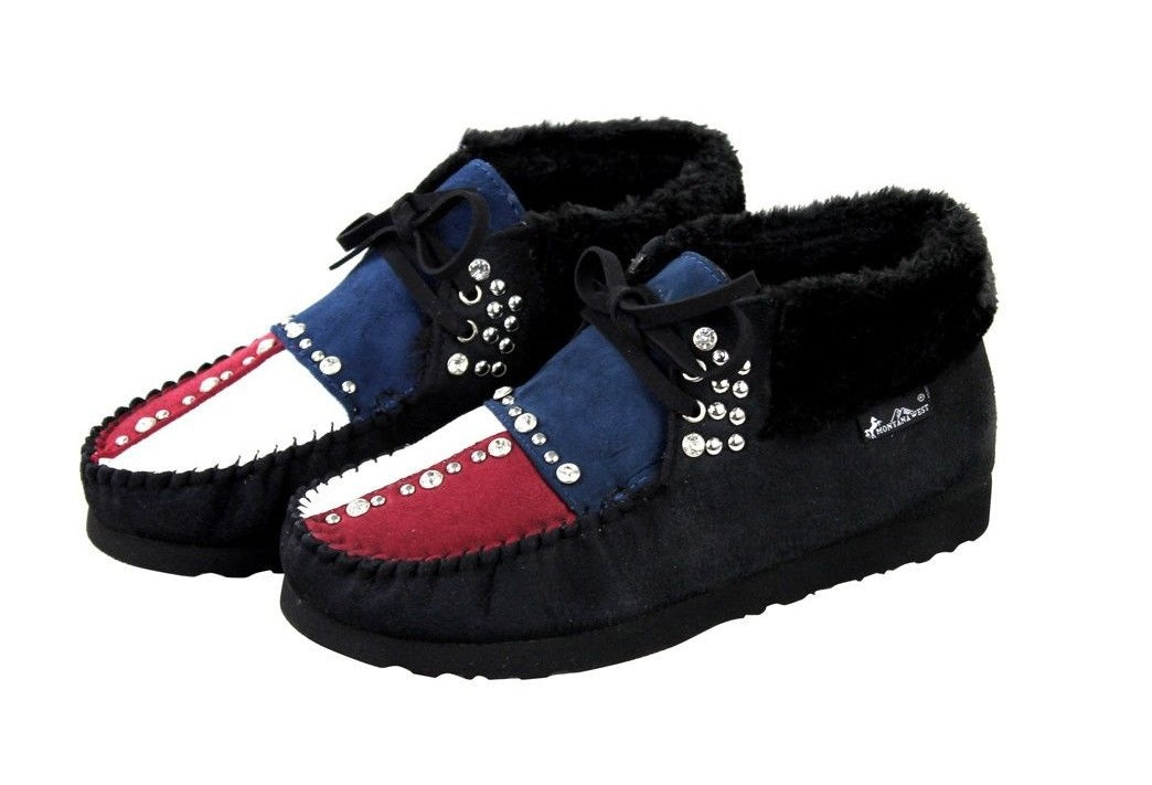 Montana West Texas USA American Flag Ankle Boots Moccasins Winter Shoes Black