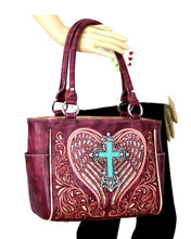 Montana West Turquoise Bling Cross Heart Wings Purse Handbag Burgundy Purple Pink