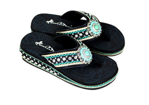 "Montana West Turquoise Concho Bling Rhinestone Flip Flops Sandals Slip On Shoes Black 1.75"" Wedge"