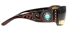 Montana West Turquoise Blue Floral Flower Concho Bling Sunglasses Shades + Case