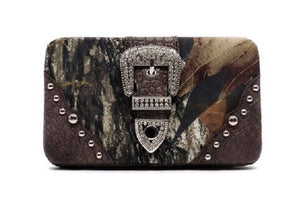 Mossy Oak Camo Bling Rhinestone Buckle Flat Clutch Wallet Pink Brown Black Green