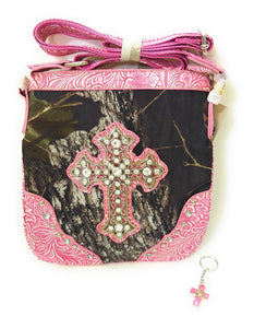 Mossy Oak Camo Rhinestone Cross Western Messenger Bag Crossbody Purse Charm Pink