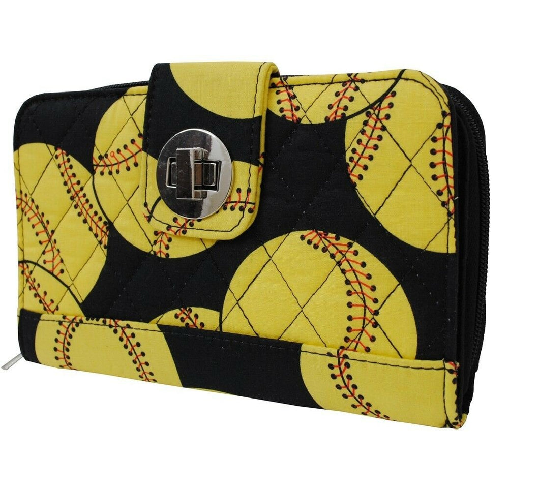N Gil Quilted Twist Latch Softball Sports Womens Girls Wallet Black Yellow