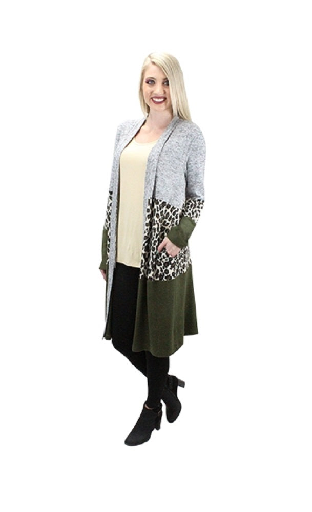 Cheetah Leopard Long Block Cardigan Jacket Coat Top With Pockets Olive Green Gray