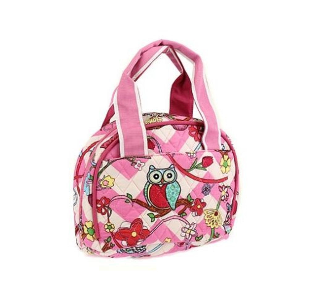 Owl Chevron Flower School Travel Work Insulated Quilted Lunch Box Bag Pink White
