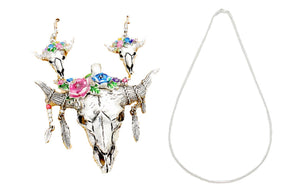 Magnetic Pendant Longhorn Steer Aztec Necklace Earrings Set Feather Flower Jewelry