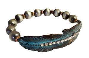 Pearl Rhinestone Patina Turquoise Coppertone Feather Stretch Western Bracelet