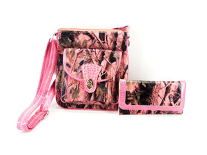 Pink Camo Western Messenger Bag Crossbody Purse Trifold Wallet Set