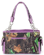 Camo Bling Rhinestone Cross Concealed Carry Weapon Gun Purse Shoulder Bag Purple
