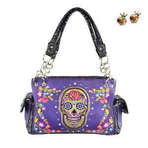 Purple Concealed Carry Gun Rhinestone Cross Flower Sugar Skull Purse Earring Set