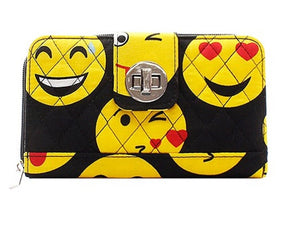 Quilted Emoji Wallet Emoticon Smiley Zipper Twist Latch Pocketbook Black Yellow