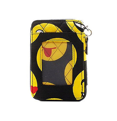 Quilted Smiley Face ID Wallet Zipper Womens Wristlet Pocketbook Black Yellow