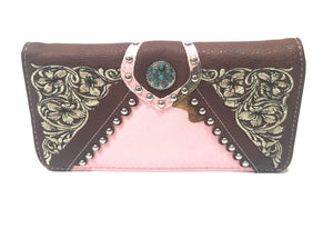 Realtree Camo Turquoise Blue Concho Trifold Embroidery Western Womens Wallet Brown Pink